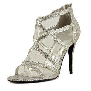 Sugar Vanilla open toe silver heels, Sz. 8.5